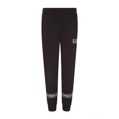 Junior Black Rubber Logo Sweatpants