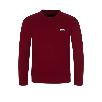 Junior Red Rubberised Logo Sweatshirt
