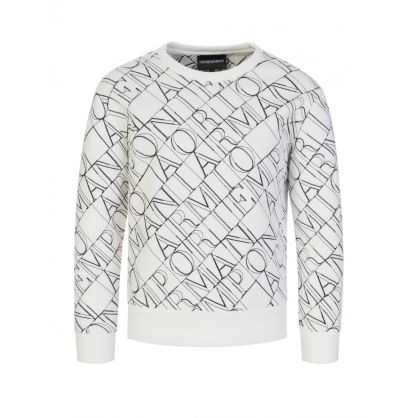Junior White Stencilled Logo Sweatshirt