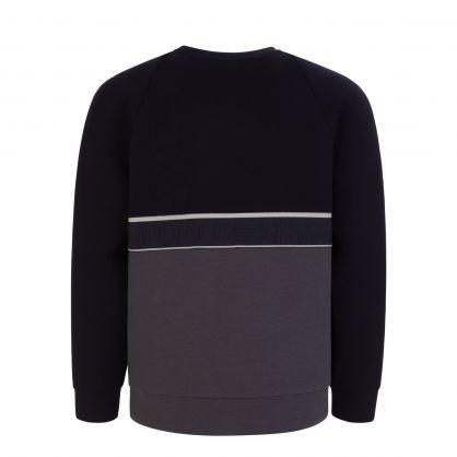 Junior Navy/Grey Jacquard Logo Sweatshirt