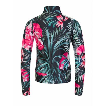 Kids Black Floral Print Zip-Through Active Top