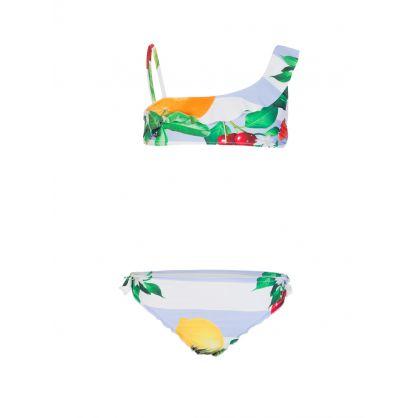 Kids White Fruit Print 2-Piece Bikini Set