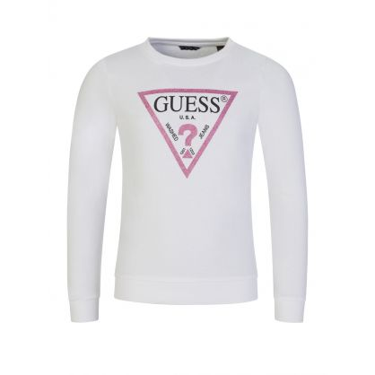 Kids White Logo Active Sweatshirt