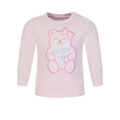 Kids Pink Embroidered Teddy Bear Sweatshirt