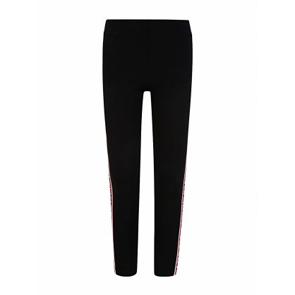Black Side Tape Logo Leggings