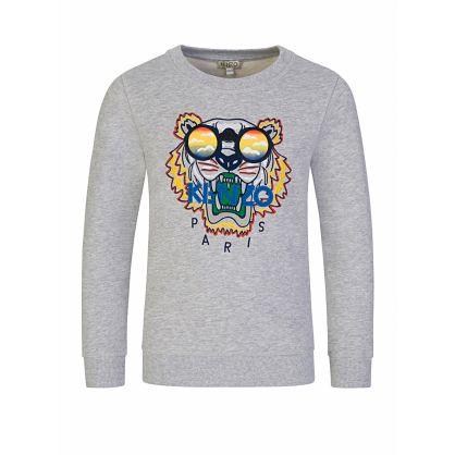 Grey Sunglasses Tiger Sweatshirt
