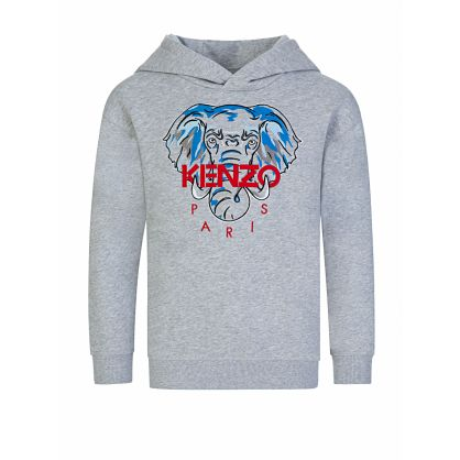 Grey 'Disco Jungle' Elephant Print Hoodie