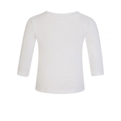 White Cotton Long-Sleeve Elephant-Print T-Shirt