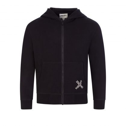 Black X Logo Hooded Zip-Through