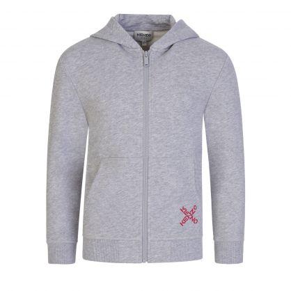 Grey Sports 'Big X' Back Logo Zip-Through  Hoodie