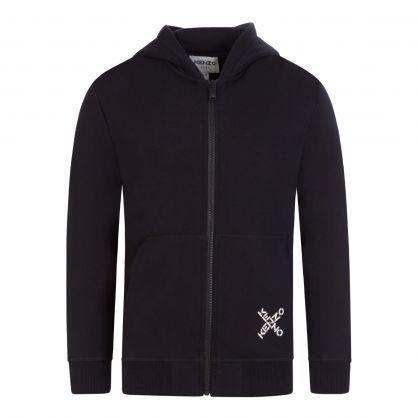 Black Sports 'Big X' Zip-Through Logo Hoodie