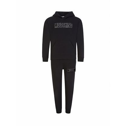Black Hooded Logo Tracksuit