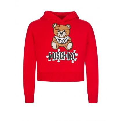 Kids Red Jigsaw Teddy Bear Popover Hoodie