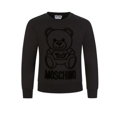 Kids Black Felt Tonal Bear Sweatshirt
