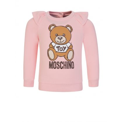 Kids Pink Shoulder Frill Bear Logo Sweatshirt