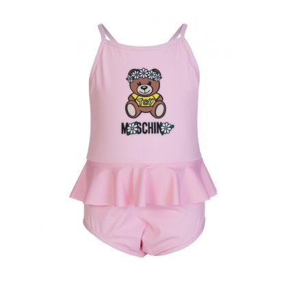 Kids Pink Daisy Bear Swimsuit