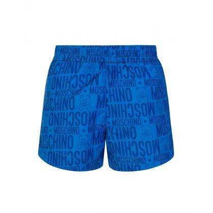 Kids Blue Teddy Swim Trunks