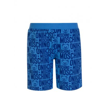 Kids Blue Allover Logo Shorts