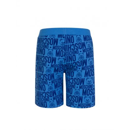 Kids Blue Allover Logo Shorts