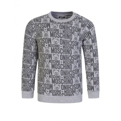 Kids Grey All-over Bear Sweatshirt