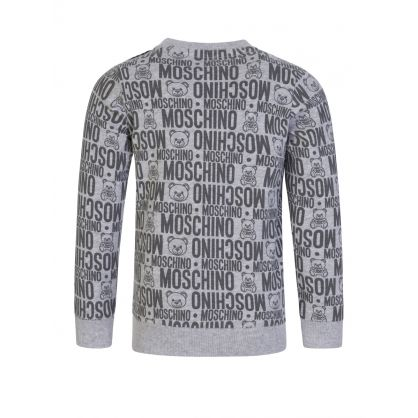 Kids Grey All-over Bear Sweatshirt