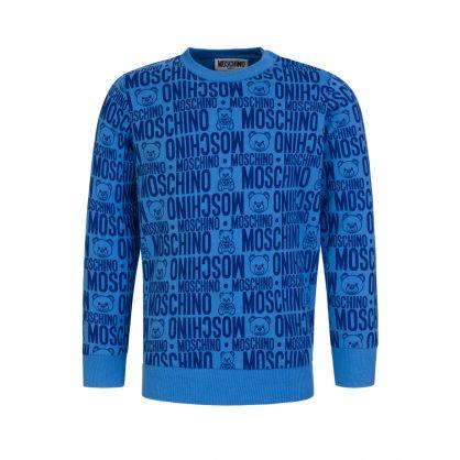 Kids Blue Monogram Logo Sweatshirt