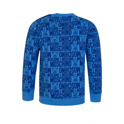 Kids Blue Monogram Logo Sweatshirt