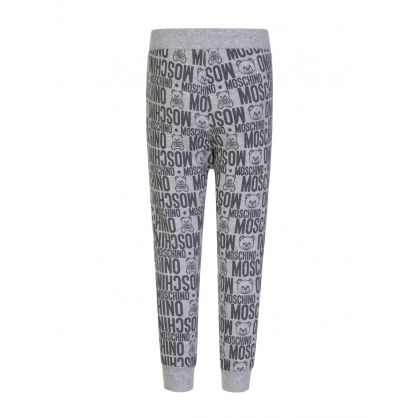 Kids Grey Allover Logo Sweatpants