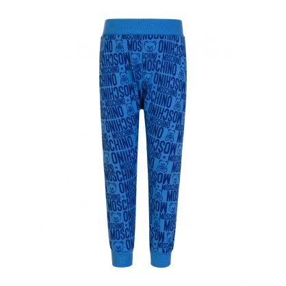 Kids Blue Allover Logo Sweatpants