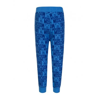 Kids Blue Allover Logo Sweatpants