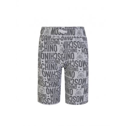 Kids Grey Allover Logo Shorts