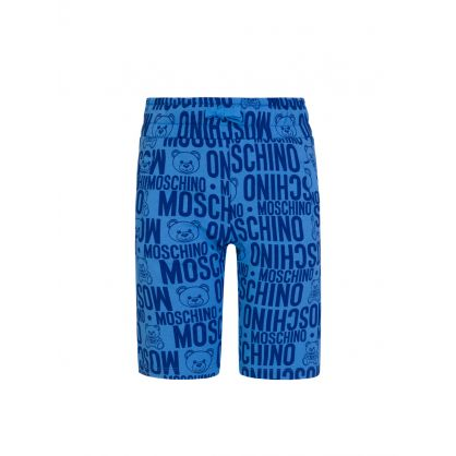 Kids Blue Allover Logo Print Shorts
