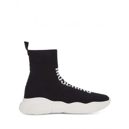 Kids Black High-Top Logo Sock Trainers