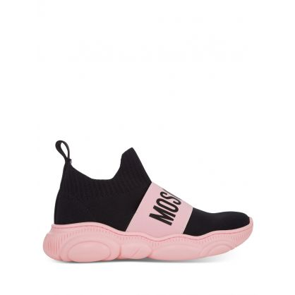 Kids Black/Pink Logo Sock Trainers