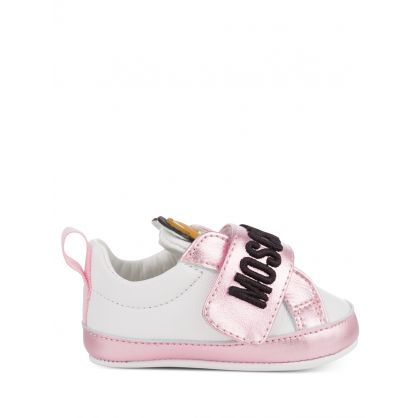 Kids White/Pink Leather Teddy Logo Trainers