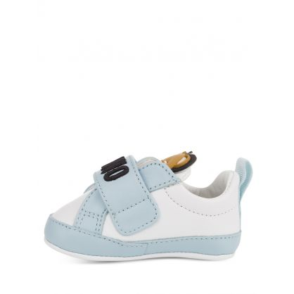 Kids White/Blue Leather Teddy Logo Trainers