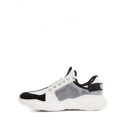 Kids White Calfskin/Mesh Teddy Fluo Trainers