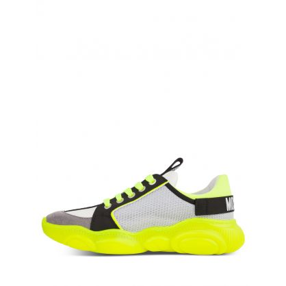 Kids White/Yellow Calfskin/Mesh Teddy Fluo Trainers