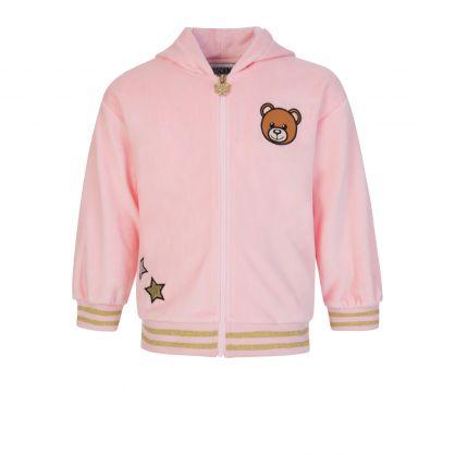 Kids Pink Velour 2-Piece Baby Zip-Through Logo Tracksuit