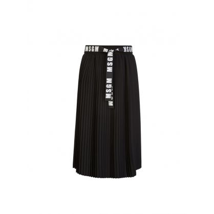 Kids Black Long Pleated Skirt
