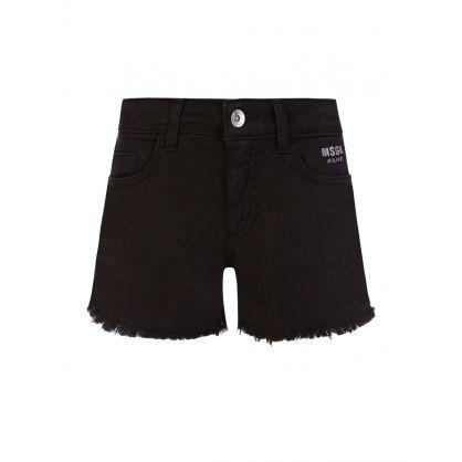 Kids Black Denim Distressed Shorts
