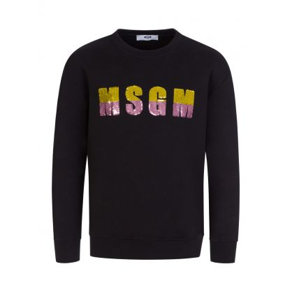 Kids Black Sequin Logo Sweatshirt