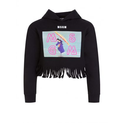 Kids Black Graphic Logo Cropped Hoodie