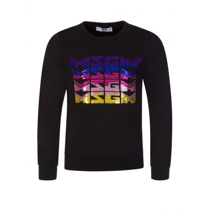 Kids Black Sequin Logos Sweatshirt