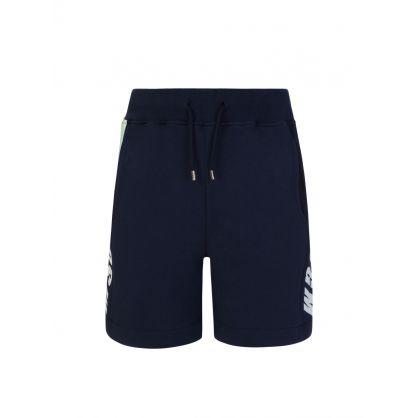 Kids Navy Fleece Logo Shorts
