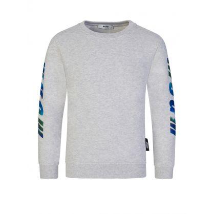 Kids Grey Logo-Print Sleeve Sweatshirt