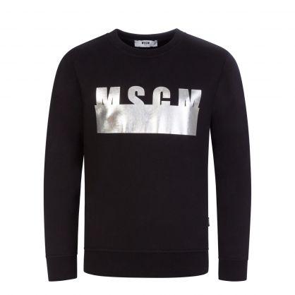 Kids Black Metallic Logo Sweatshirt