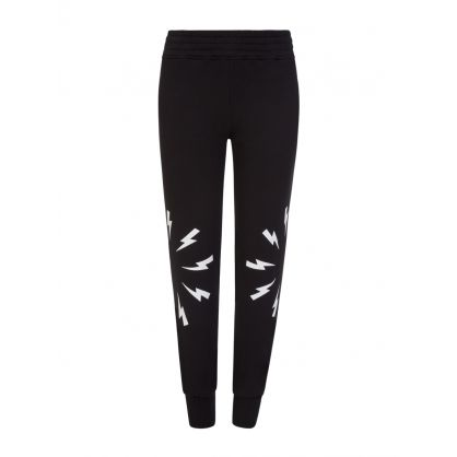 Kids Black Lightning Cuff Sweatpants