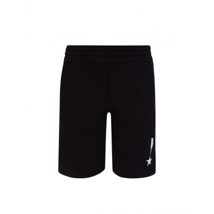 Kids Black Thunderbolt & Star Fleece Shorts