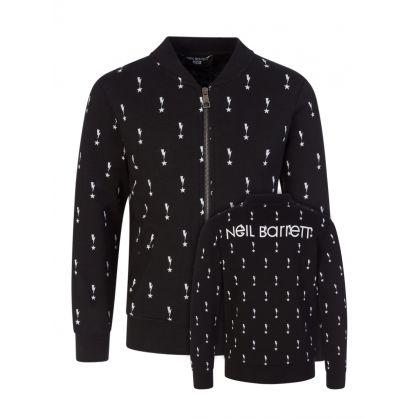 Kids Black Thunderbolts & Stars Fleece Bomber Sweatshirt